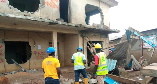Building Partially Collapses At Ikotun, Lagos