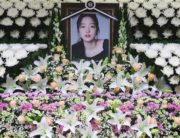 K-pop star Goo Hara's portrait at a memorial altar at a hospital in Seoul. AFP