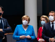 Netherlands' Prime Minister Mark Rutte (L) looks on next to Germany's Chancellor Angela Merkel ( 2nd L), President of the European Commission Ursula von der Leyen (2nd R) and France's President Emmanuel Macron prior the start of the European Council building in Brussels, on July 18, 2020, as the leaders of the European Union hold their first face-to-face summit over a post-virus economic rescue plan. Francisco Seco / POOL / AFP