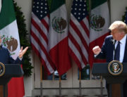 US President Donald Trump and Mexican President Andres Manuel Lopez Obrador hold a joint press conference in the Rose Garden of the White House on July 8, 2020, in Washington, DC. JIM WATSON / AFP