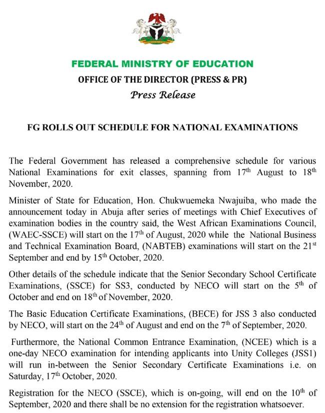 NECO Statment