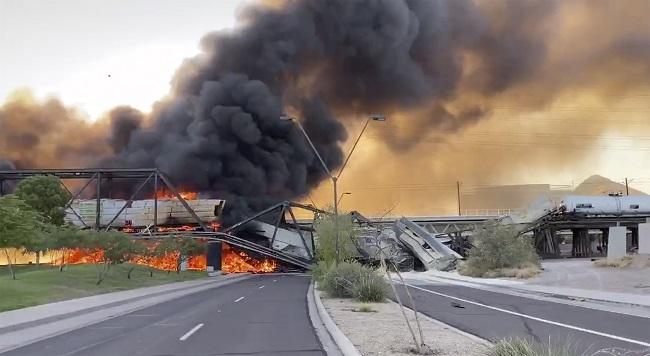 Train Derails, Bursts Into Flames In Arizona