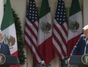 US President Donald Trump and Mexican President Andres Manuel Lopez Obrador hold a joint press conference in the Rose Garden of the White House on July 8, 2020, in Washington, DC. (Photo by JIM WATSON / AFP)