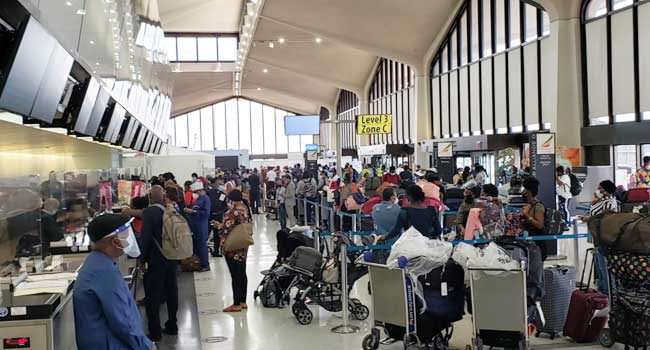 The stranded Nigerians at the Newark Airport, New Jersey are being expected into the country July 18, 2020. Credit: Geoffrey Onyeama