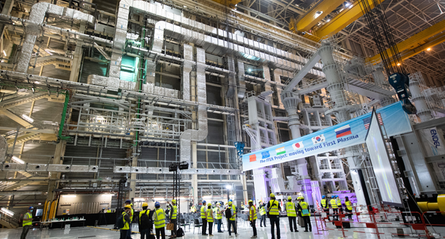 "A picture shows a general view of the assembly hall during the launch of the assembly stage of nuclear fusion machine ""Tokamak"" of the International Thermonuclear Experimental Reactor (ITER) in Saint-Paul-les-Durance, southeastern France, on July 28, 2020. CLEMENT MAHOUDEAU / AFP"