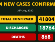 A graphic published by the NCDC on July 28, 2020, showing the nation's COVID-19 statistics.