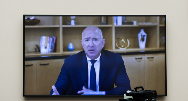 Amazon CEO Jeff Bezos testifies via video conference during the House Judiciary Subcommittee on Antitrust, Commercial and Administrative Law hearing on Online Platforms and Market Power in the Rayburn House office Building, July 29, 2020 on Capitol Hill in Washington, DC. Graeme Jennings-Pool/Getty Images/AFP