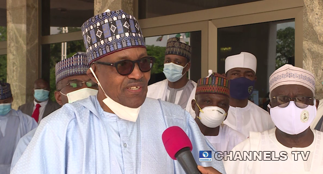 President Muhammadu Buhari spoke to reporters on July 31, 2020, after attending a Sallah service.