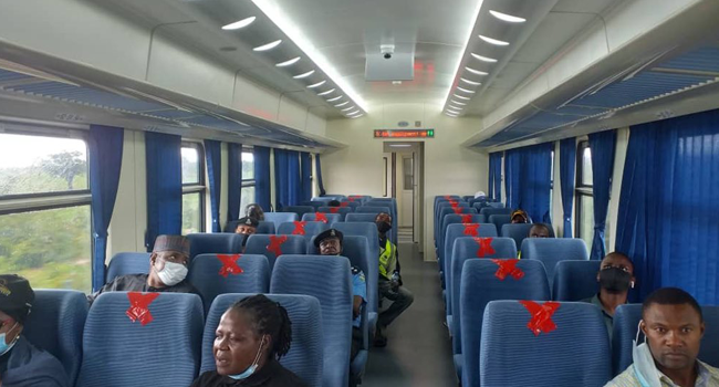 Minister of Transportation, Rotimi Amaechi, inspected new coaches on the Abuja-Kaduna rail line on July 25, 2020.