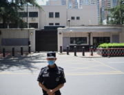 A policeman stands in front of the US Consulate in Chengdu, southwestern China's Sichuan province, on July 27, 2020. Noel Celis / AFP