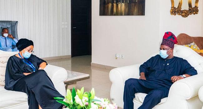 PHOTOS: Amosun Visits Late Ajimobi's Wife, Family