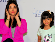In this file photo taken on November 20, 2019 Indian Bollywood actress Aishwarya Rai Bachchan (L) and daughter Aaradhya Bachchan pose during an event with NGO Smile Train India to bring awareness about cleft lip and palate, in Mumbai. Sujit Jaiswal / AFP