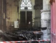 This photograph taken on July 18, 2020, shows the damage inside the Saint-Pierre-et-Saint-Paul cathedral in Nantes, western France. Sebastien SALOM-GOMIS / AFP
