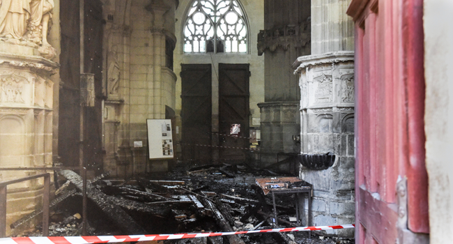 Arson Probe Launched After Fire Damages French Cathedral