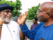 In a photo published on Ondo State Governor, Rotimi Akeredolu, on July 20, 2020, the Governor greets Mr Olusegun Abraham, who stepped down for him in the state's APC primary election.