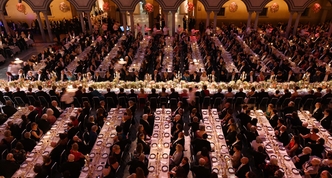 This file photo taken on December 10, 2019 shows guests waiting for the desserts during royal banquet to honour the laureates of the Nobel Prize 2019 following the Award ceremony in Stockholm, Sweden. Jonathan NACKSTRAND / AFP