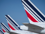In this file photo taken on August 07, 2018 (FILES) In this file picture taken on August 7, 2018 shows a Air France planes parked on the tarmac of Roissy-Charles de Gaulle Airport, north of Paris. JOEL SAGET / AFP