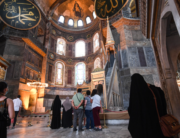Tourists visit the inside of Hagia Sophia on July 10, 2020, in Istanbul, before a top Turkish court revoked the sixth-century Hagia Sophia's status as a museum, clearing the way for it to be turned back into a mosque. Ozan KOSE / AFP