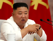 In this picture taken on July 2, 2020 and released from North Korea's official Korean Central News Agency (KCNA) on July 3, 2020 North Korean leader Kim Jong Un speaks during the Political Bureau of the Central Committee of the Workers' Party of Korea (WPK) meeting in Pyongyang. STR / AFP / KCNA VIA KNS