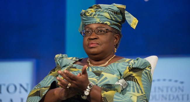 "In this file photo taken on September 19, 2016 former Finance Minster of Nigeria Ngozi Okonjo-Iweala looks on during the Opening Plenary Session: ""Partnering for Global Prosperity,"" at the Clinton Global Initiative in New York. Bryan R. Smith / AFP"