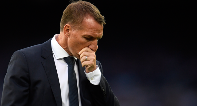 Leicester City's Northern Irish manager Brendan Rodgers reacts after the English Premier League football match between Everton and Leicester City at Goodison Park in Liverpool, north west England on July 1, 2020. PETER POWELL / POOL / AFP