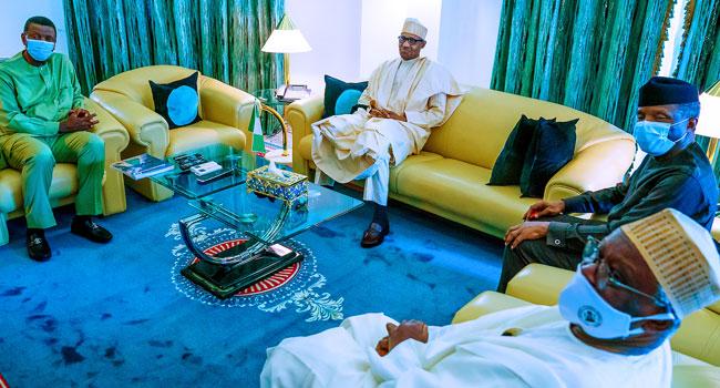 PHOTOS: RCCG General Overseer Adeboye Visits Buhari, Osinbajo