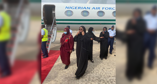 This picture, released on August 22, 2020, shows the First Lady, Aisha Buhari, arriving the country from Dubai.
