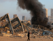 A picture shows the scene of an explosion near the port in the Lebanese capital Beirut on August 4, 2020. STR / AFP