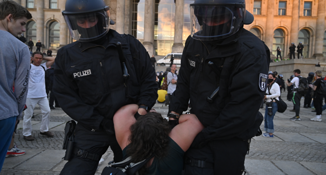 Police In Germany Halt Protest Calling For End To COVID-19 Restrictions