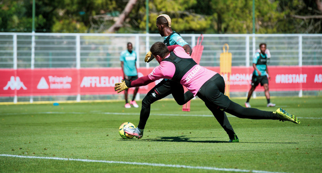 This pictures shows Henry Onyekuru in training at AS Monaco on August 4, 2020.