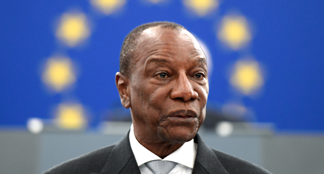 In this file photo taken on May 29, 2018 Guinean President Alpha Conde addresses MPs during a plenary session at the European Parliament in Strasbourg, eastern France. FREDERICK FLORIN / AFP