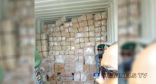 Police Intercept 40-Foot Container Filled With Tramadol, Codeine In Lagos