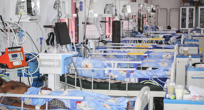 Beds are set for patients who are infected with the coronavirus (COVID-19) in the Intensive Care Unit (ICU) at Martini hospital in Mogadishu, Somalia, on July 29, 2020. STR / AFP