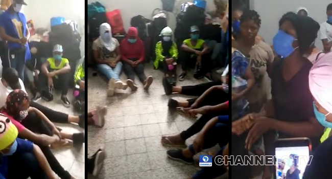 A composite of screengrabs created on August 1, 2020, from the viral videos of Nigerians in Lebanon calling for help.