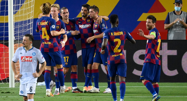 Champions League: Barcelona Defeat Napoli To Set Up Bayern Meet