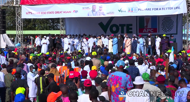 The APC flag-off event in Edo took place at the University of Benin's Sports Complex on August 8, 2020.