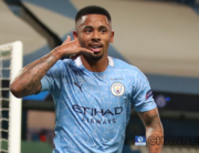 Manchester City's Brazilian striker Gabriel Jesus celebrates scoring his team's second goal during the UEFA Champions League round of 16 second leg football match between Manchester City and Real Madrid at the Etihad Stadium in Manchester, north west England on August 7, 2020. Nick Potts / POOL / AFP