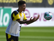 Borussia Dortmund's Jadon Sancho attends a training session of the German first division Bundesliga team Borussia Dortmund at the team training grounds in Dortmund, western Germany, on August 3, 2020. INA FASSBENDER / AFP
