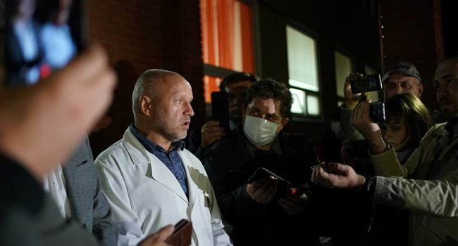 Anatoly Kalinichenko, deputy head doctor at Omsk Emergency Hospital No. 1 where Alexei Navalny was admitted after he fell ill in what his spokeswoman said was a suspected poisoning, speaks to the media in Omsk on August 21, 2020. Dimitar DILKOFF / AFP