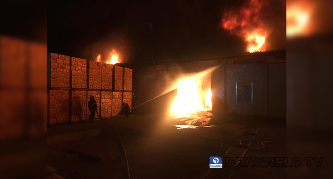 Firefighters Battle To Contain Warehouse Inferno In Ogba