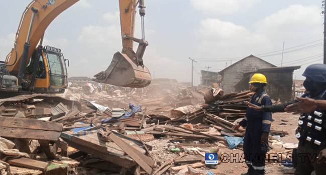 The Lagos State Government demolished about 150 kiosks and shanties in the Agege area of Lagos State on August 12, 2020.