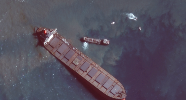 Stranded tanker breaks in two off the coast of Mauritius