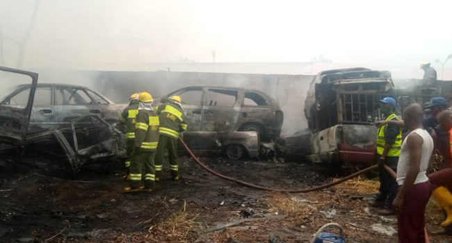 Fire Razes 10 Cars, One Trailer At LASTMA Office