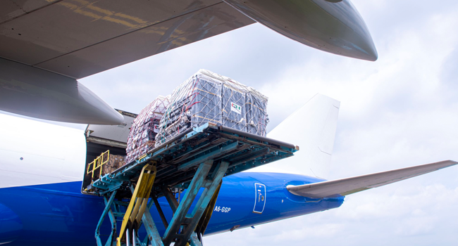 This picture, released by the Dubai Media Office on August 15, 2020, shows cargo being loaded into a plane apparently headed for Nigeria and Sudan.