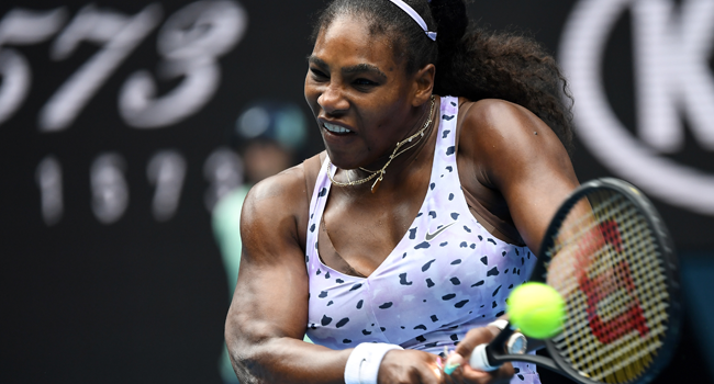 In this file photo taken on January 24, 2020 Serena Williams of the US hits a return against China's Wang Qiang during their women's singles match on day five of the Australian Open tennis tournament in Melbourne. William WEST / AFP