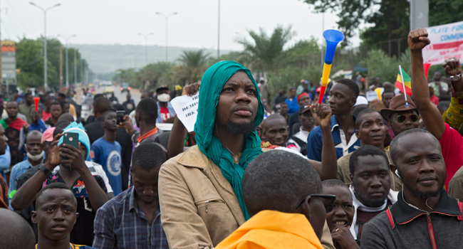 A man looks on during a protest organised by M5-RFP, who are calling for Malian President Ibrahim Boubacar Keita to resign, in Bamako on August 11, 2020. ANNIE RISEMBERG / AFP