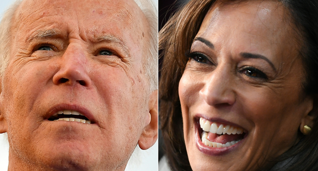 This combination of file photos created on March 8, 2020, shows Democratic presidential candidate Joe Biden at a campaign rally in Kansas City, Missouri on March 7, 2020, and former Democratic presidential hopeful California Senator Kamala Harris in the Spin Room after participating in the fifth Democratic primary debate of the 2020 presidential campaign in Atlanta, Georgia on November 20, 2019. MANDEL NGAN, SAUL LOEB / AFP