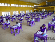 Wearing face-masks, final year students of Government Secondary School, Zone 3, Abuja, sit in a classroom as they write their West African Examinations Council exams, following the ease of COVID-19 lockdown order on Monday August 17, 2020. Photo: Sodiq Adelakun/Channels Television.