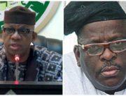 A photo combination of Ogun State Governor, Dapo Abiodun and late Senator Buruji Kashamu.