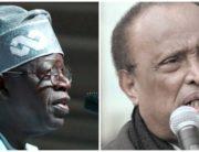 A photo combination created on August 15, 2020 showing APC National Leader, Bola Tinubu and late US Ambassador to Nigeria, Walter Carrington